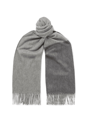 Begg & Co - Arran Fringed Colour-block Cashmere Scarf - Gray