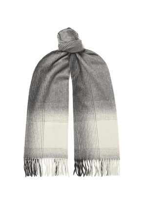 Begg & Co - Arran Fringed Checked Cashmere Scarf - Gray