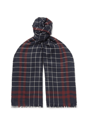 Begg & Co - Magellan Fringed Checked Cashmere And Silk-blend Scarf - Navy