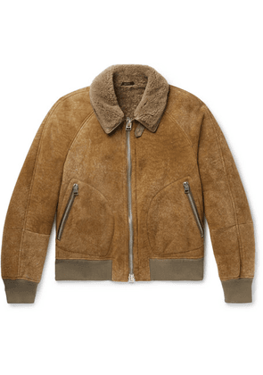 TOM FORD - Shearling Bomber Jacket - Brown