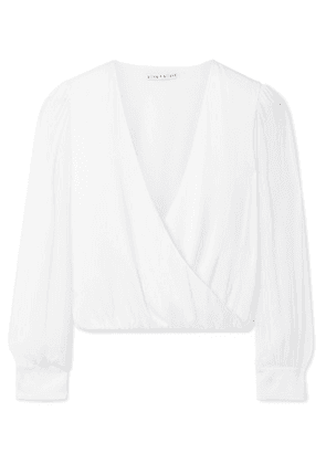 Alice + Olivia - Hart Wrap-effect Chiffon-trimmed Stretch Silk-charmeuse Blouse - White