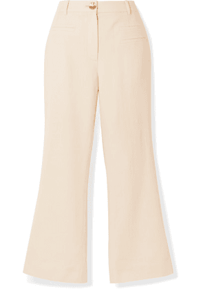 REJINA PYO - Maeve Cropped Wool-twill Flared Pants - Ivory
