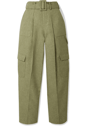 Rosie Assoulin - Belted Glittered Canvas Wide-leg Pants - Sage green