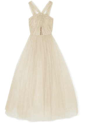 Monique Lhuillier - Cutout Glittered Tulle Gown - Ivory