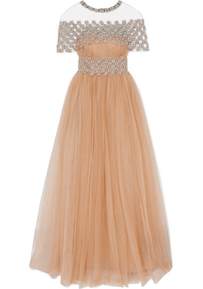 Reem Acra - Cape-effect Embellished Gathered Tulle Gown - Beige
