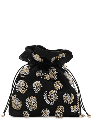 Trilly Bead Embellished Satin Clutch