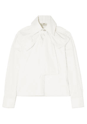 Fendi - Pussy-bow Embroidered Cotton-poplin Blouse - White