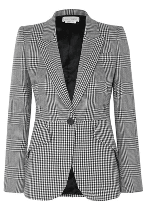 Alexander McQueen - Prince Of Wales And Houndstooth Checked Wool Blazer - Black