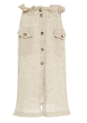 Tuinch Wool Mixed-Knit Button-Front Midi Skirt Size: M
