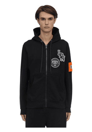 Logo Patch Zip-up Cotton Jersey Hoodie