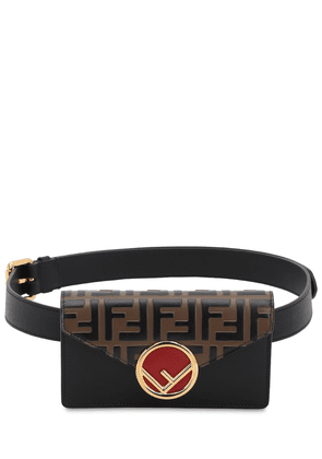 Logo Embossed Leather Belt Pouch