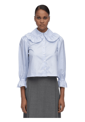 Wide Collar Cotton Poplin Blouse