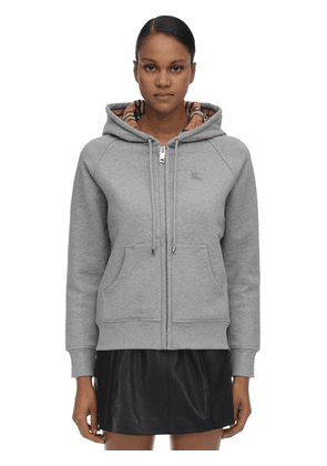 Zip-up Cotton Blend Sweatshirt Hoodie