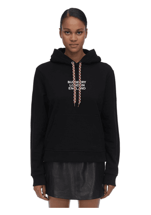 Logo Embroidered Cotton Jersey Hoodie
