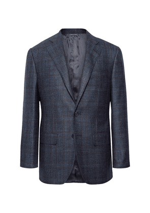 Thom Sweeney - Storm-blue Slim-fit Checked Wool, Silk And Cashmere-blend Blazer - Storm blue
