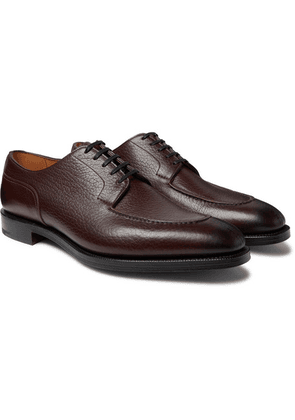 Edward Green - Dover Textured-leather Derby Shoes - Dark brown