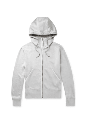 TOM FORD - Leather-trimmed Jersey Zip-up Hoodie - Silver