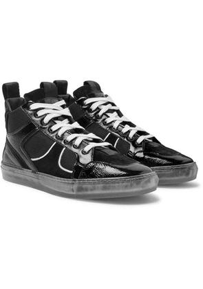 RtA - 1001 Patent Full-grain Leather, Suede And Mesh High-top Sneakers - Black