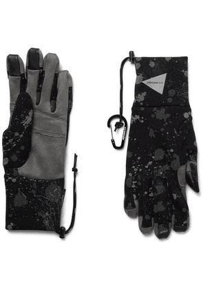 And Wander - Leather-trimmed Reflective Polartec Gloves - Black