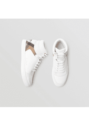 Burberry Leather and House Check High-top Sneakers, White