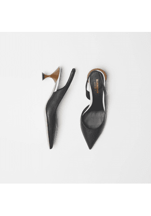 Burberry Leather Slingback Pumps, Black