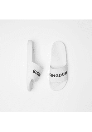 Burberry Kingdom Motif Slides, White