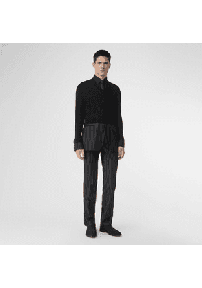 Burberry Classic Fit Pinstriped Wool Tailored Trousers, Black