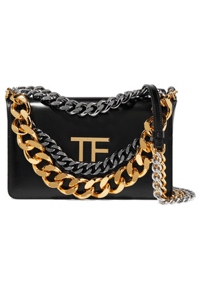 TOM FORD - Triple Chain Embellished Leather Shoulder Bag - Black