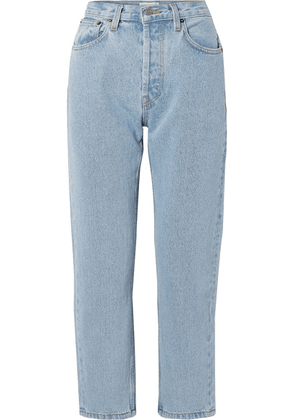 Still Here - Tate Cropped Striped High-rise Straight-leg Jeans - Blue