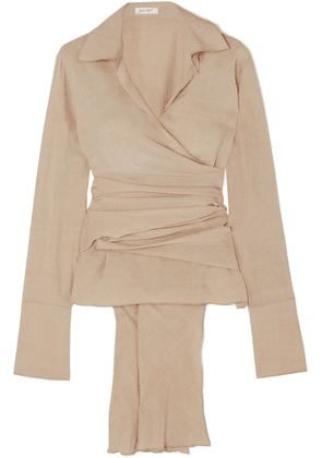 The Line By K - Jett Washed-crepe Wrap Blouse - Gray