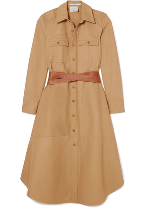 Stella McCartney - Belted Cotton-canvas Midi Dress - Beige