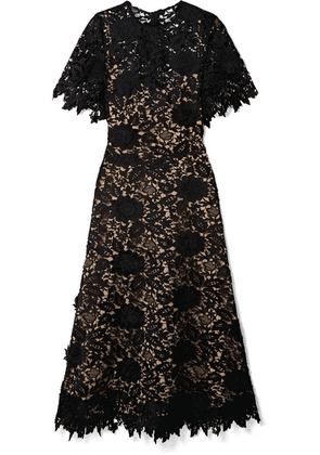 Lela Rose - Embroidered Guipure Lace Midi Dress - Black