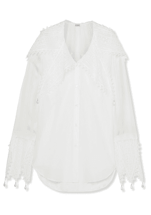 Loewe - Embellished Broderie Anglaise-trimmed Cotton And Georgette Blouse - White