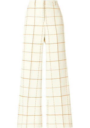 Victoria Beckham - Checked Wool-blend Twill Wide-leg Pants - Ivory