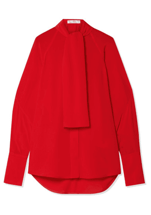Victoria Beckham - Pussy-bow Silk Crepe De Chine Blouse - Tomato red