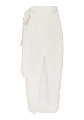 Significant Other Solace Wrap-Tie Linen-Blend Midi Skirt Size: 2