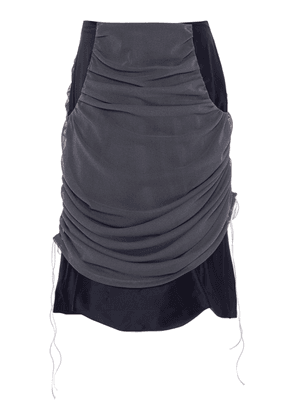 Richard Malone Double-Layer Ruched Satin-Tulle Skirt Size: XS