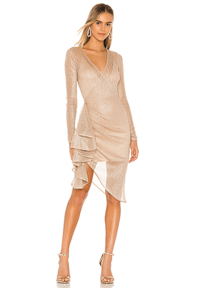 Lovers + Friends Kaden Midi Dress in Metallic Neutral. Size M,S,XL,XS,XXS.