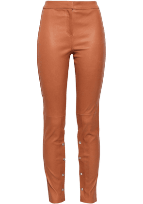 Loewe Button-embellished Stretch-leather Skinny Pants Woman Light brown Size 36
