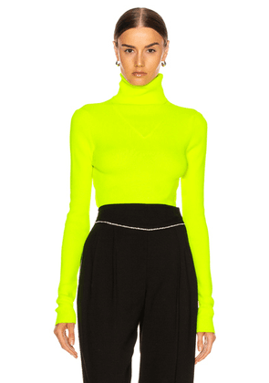 MSGM Turtleneck Sweater in Yellow Fluo - Green. Size XS (also in S,M,L).
