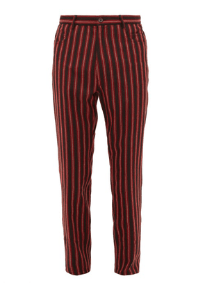 Ann Demeulemeester - Striped Mid Rise Wool Blend Trousers - Mens - Black Red