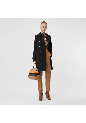 Burberry Kensington Fit Cotton Gabardine Trench Coat, Black