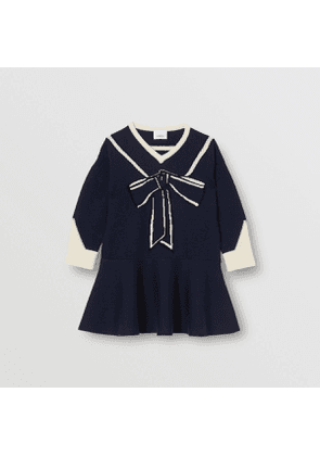 Burberry Childrens Trompe L'Oeil Intarsia Wool Cashmere Dress, Blue