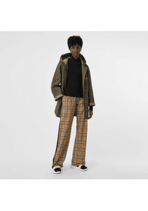 Burberry Satin Trim Vintage Check Cotton Trousers, Yellow