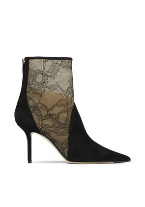 LEIDA 85 Black Suede and Lace Ankle Boots