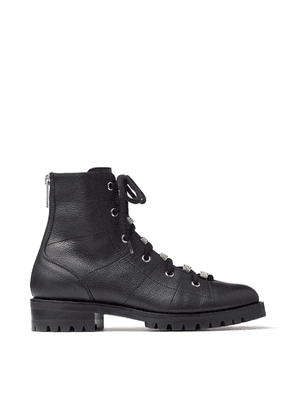 BREN FLAT Black Grained Leather Lace-Up Biker Boots with Crystal Embellishment