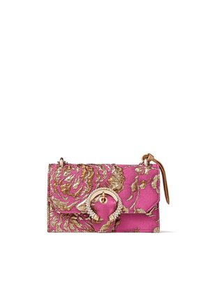 PARIS Pink and Gold Brocade Top Handle Bag with Crystal Buckle