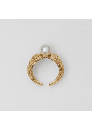 Burberry Gold-plated Resin Pearl Ring, Yellow