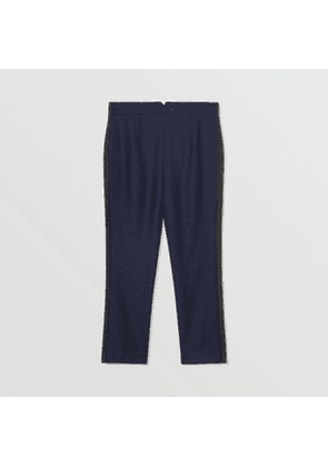 Burberry Childrens Stripe Detail Wool Twill Tailored Trousers, Blue