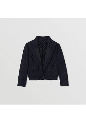 Burberry Childrens Satin Trim Wool Twill Tailored Jacket, Blue